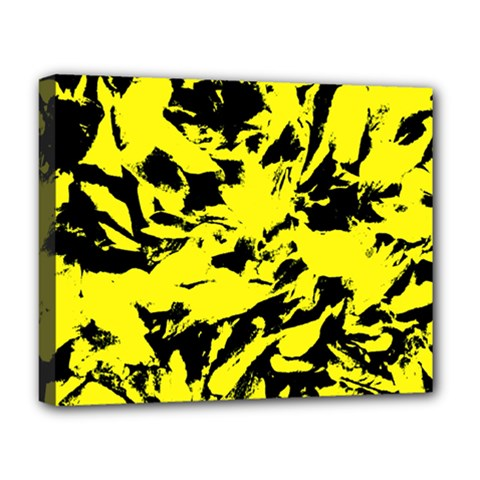 Yellow Black Abstract Military Camouflage Deluxe Canvas 20  X 16   by Costasonlineshop