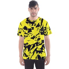 Yellow Black Abstract Military Camouflage Men s Sports Mesh Tee