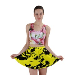 Yellow Black Abstract Military Camouflage Mini Skirt by Costasonlineshop