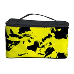 Yellow Black Abstract Military Camouflage Cosmetic Storage Case by Costasonlineshop