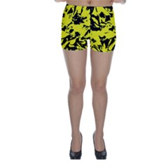 Yellow Black Abstract Military Camouflage Skinny Shorts