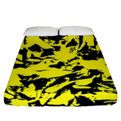 Yellow Black Abstract Military Camouflage Fitted Sheet (california King Size) by Costasonlineshop