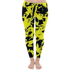 Yellow Black Abstract Military Camouflage Classic Winter Leggings