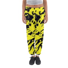 Yellow Black Abstract Military Camouflage Women s Jogger Sweatpants