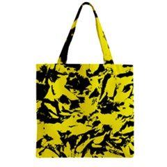 Yellow Black Abstract Military Camouflage Zipper Grocery Tote Bag by Costasonlineshop