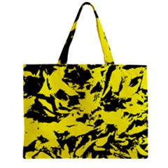 Yellow Black Abstract Military Camouflage Zipper Mini Tote Bag by Costasonlineshop
