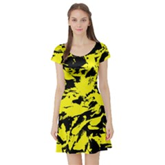 Yellow Black Abstract Military Camouflage Short Sleeve Skater Dress