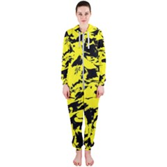Yellow Black Abstract Military Camouflage Hooded Jumpsuit (ladies)