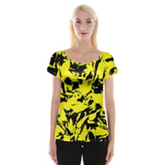 Yellow Black Abstract Military Camouflage Cap Sleeve Tops by Costasonlineshop