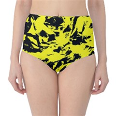 Yellow Black Abstract Military Camouflage High Waist Bikini Bottoms by Costasonlineshop