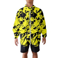 Yellow Black Abstract Military Camouflage Wind Breaker (kids) by Costasonlineshop