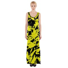 Yellow Black Abstract Military Camouflage Maxi Thigh Split Dress