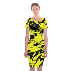 Yellow Black Abstract Military Camouflage Classic Short Sleeve Midi Dress by Costasonlineshop