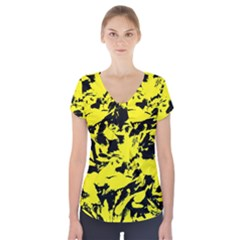 Yellow Black Abstract Military Camouflage Short Sleeve Front Detail Top