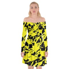 Yellow Black Abstract Military Camouflage Off Shoulder Skater Dress