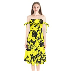 Yellow Black Abstract Military Camouflage Shoulder Tie Bardot Midi Dress