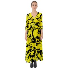 Yellow Black Abstract Military Camouflage Button Up Boho Maxi Dress