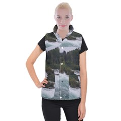 Sightseeing At Niagara Falls Women s Button Up Puffer Vest by canvasngiftshop