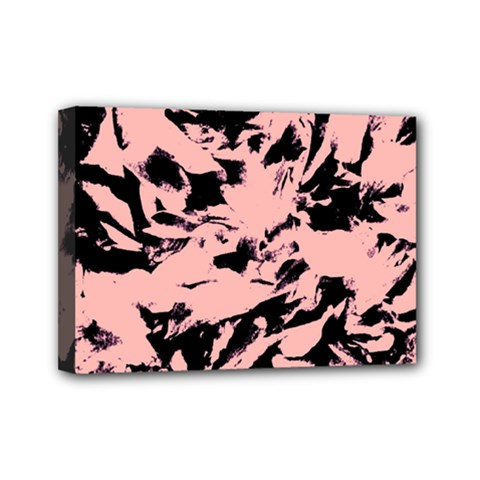 Old Rose Black Abstract Military Camouflage Mini Canvas 7  X 5