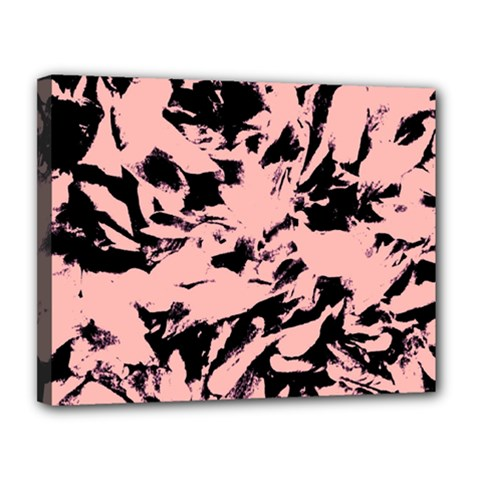 Old Rose Black Abstract Military Camouflage Canvas 14  X 11  by Costasonlineshop