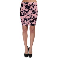 Old Rose Black Abstract Military Camouflage Bodycon Skirt by Costasonlineshop