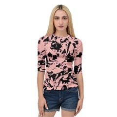 Old Rose Black Abstract Military Camouflage Quarter Sleeve Raglan Tee