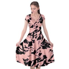 Old Rose Black Abstract Military Camouflage Cap Sleeve Wrap Front Dress