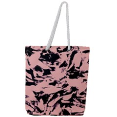 Old Rose Black Abstract Military Camouflage Full Print Rope Handle Tote (large)