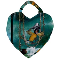 Funny Pirate Parrot With Hat Giant Heart Shaped Tote by FantasyWorld7