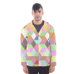 Mosaic Background Cube Pattern Hooded Wind Breaker (men) by Onesevenart