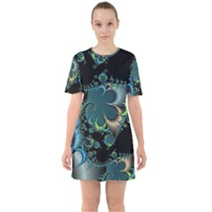 Fractal Art Artwork Digital Art Sixties Short Sleeve Mini Dress