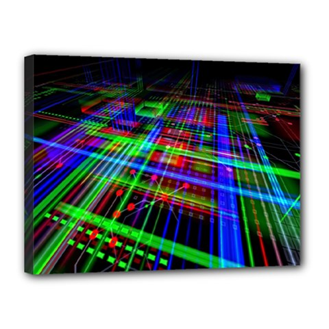 Electronics Board Computer Trace Canvas 16  X 12  by Onesevenart