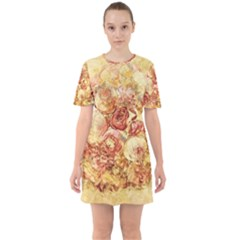 Vintage Digital Graphics Flower Sixties Short Sleeve Mini Dress