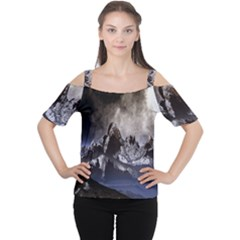 Mountains Moon Earth Space Cutout Shoulder Tee by Onesevenart