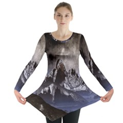 Mountains Moon Earth Space Long Sleeve Tunic  by Onesevenart