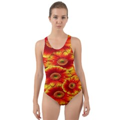 Gerbera Flowers Nature Plant Cut Out Back One Piece Swimsuit by Onesevenart