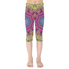 Background Fractals Surreal Design Kids  Capri Leggings  by Onesevenart