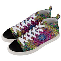 Background Fractals Surreal Design Men s Mid Top Canvas Sneakers by Onesevenart