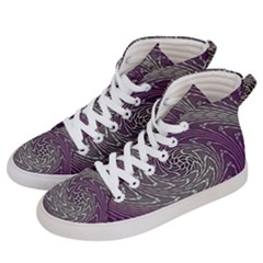 Graphic Abstract Lines Wave Art Women s Hi Top Skate Sneakers by Onesevenart