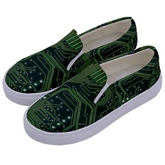 Board Computer Chip Data Processing Kids  Canvas Slip Ons by Onesevenart