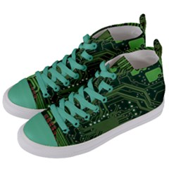 Board Computer Chip Data Processing Women s Mid Top Canvas Sneakers by Onesevenart
