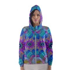 Fractal Curve Decor Twist Twirl Hooded Wind Breaker (women) by Onesevenart