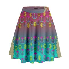 Years Of Peace Living In A Paradise Of Calm And Colors High Waist Skirt by pepitasart
