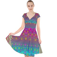 Years Of Peace Living In A Paradise Of Calm And Colors Cap Sleeve Front Wrap Midi Dress