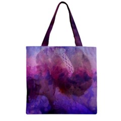Ultra Violet Dream Girl Zipper Grocery Tote Bag by 8fugoso