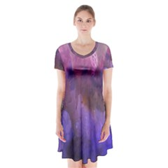 Ultra Violet Dream Girl Short Sleeve V Neck Flare Dress by 8fugoso