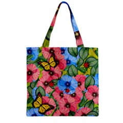 Floral Scene Grocery Tote Bag by linceazul