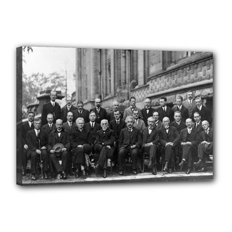 1927 Solvay Conference On Quantum Mechanics Canvas 18  X 12  by thearts