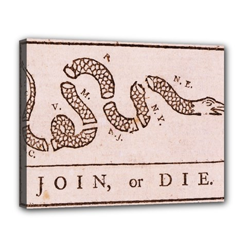 Original Design, Join Or Die, Benjamin Franklin Political Cartoon Canvas 14  X 11  by thearts