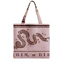 Original Design, Join Or Die, Benjamin Franklin Political Cartoon Zipper Grocery Tote Bag by thearts